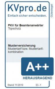 Muster-Gütesiegel Topschutz für Beamtenanwärter