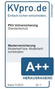 KVpro Muster-Gütesiegel für PKV Standardschutz